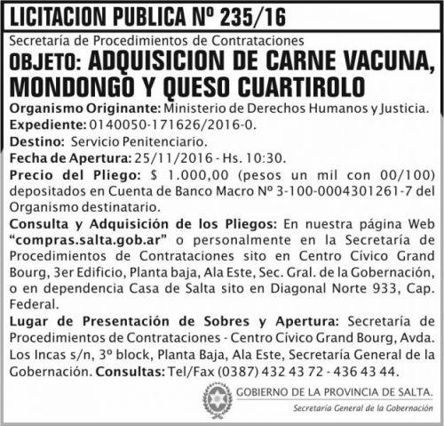 Licitación: Licitación Pública Nº 235/16