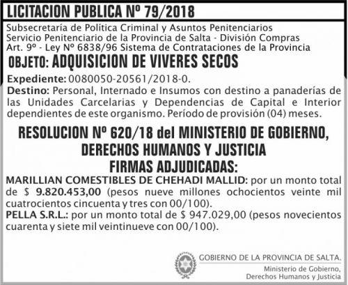 Licitación: Licitacion Publica Adjudicada 79 SPPS MDHJ