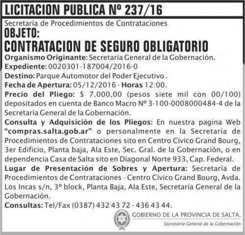 Licitación: Licitación Publica Nº 237/16