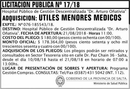 Licitación: Licitación Pública 17 MSP Oñativia