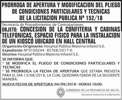Licitación: PRORROGA Licitacion Publica 152 SGG MSP