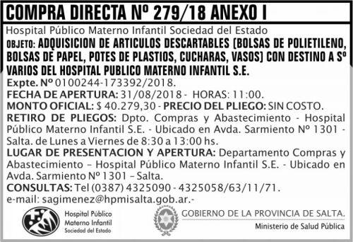Compra Directa: Compra Directa 279 MSP HPMI