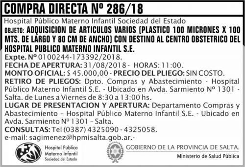Licitación: Compra Directa 286 MSP HPMI