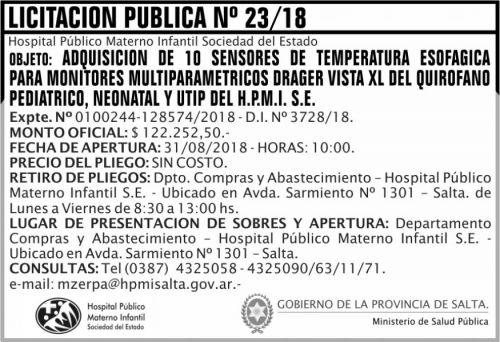 Licitación: Licitacion Publica 23 MSP HPMI