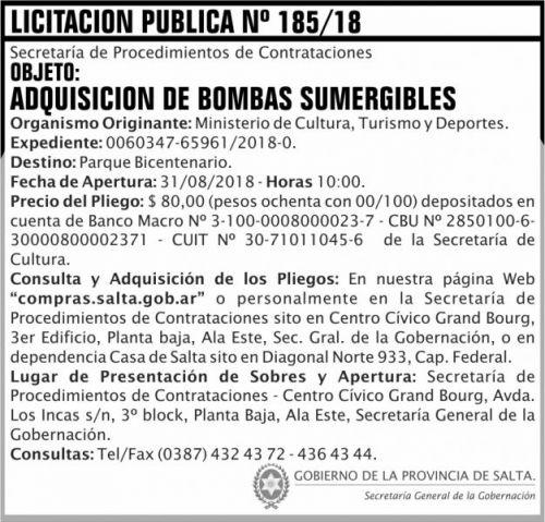 Licitación: Licitacion Publica 185 SGG MCTD