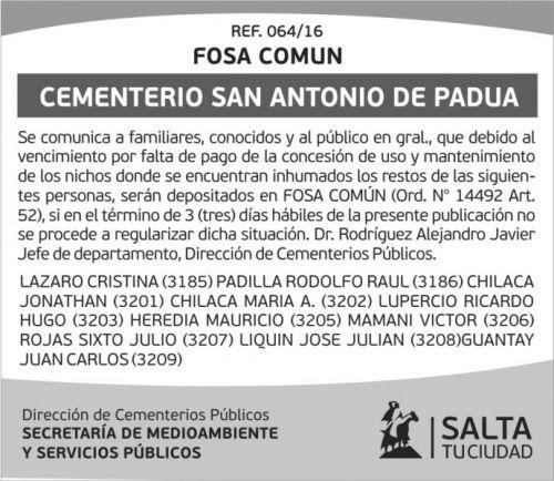 Edictos / Comunicados: Cementerio