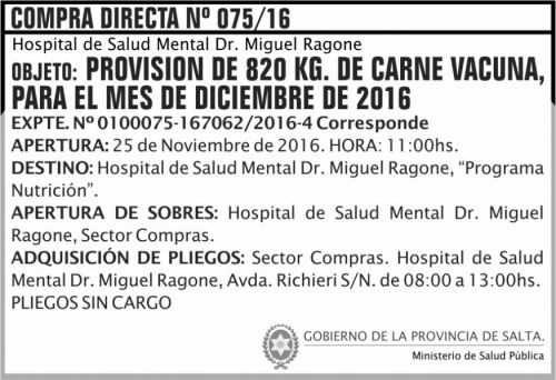 Compra Directa: Compra Directa Nº 075/16