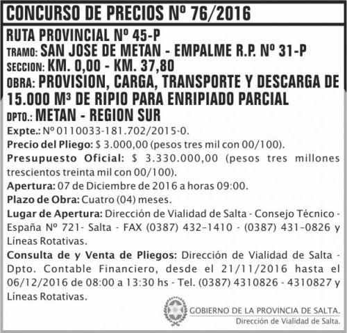 Concurso de Precios: Concurso de Precios Nº 76/2016