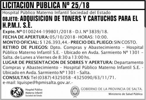 Licitación: Licitacion Publica 25 MSP HPM