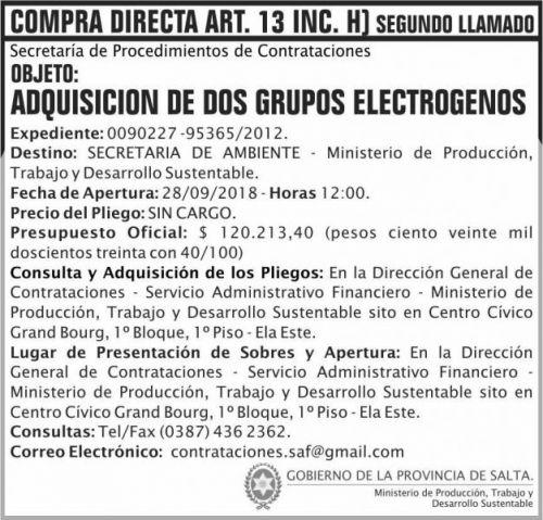 Compra Directa: Compra Directa Art 13 Grup Electrogenos 2do llamado MPTDS
