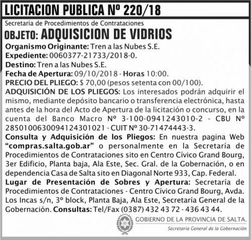 Licitación: Licitacion Publica 220 SGG TN