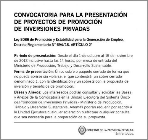 Licitación: GOB SALTA_Licitacion SEPTIEMBRE