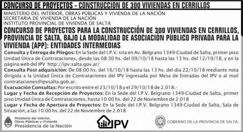 Concurso de Precios: Concurso de Proyectos 300 Viviendas en Cerrillos IPV