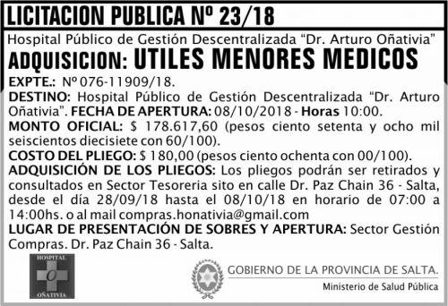 Licitación: Licitación Pública 23 MSP Oñativia