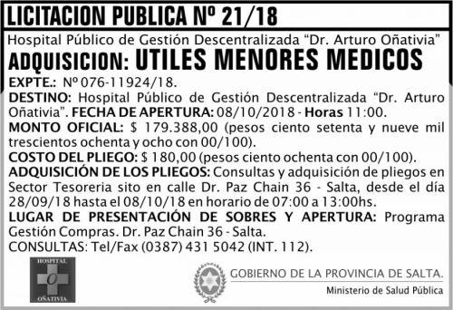 Licitación: Licitación Pública 21 MSP Oñativia
