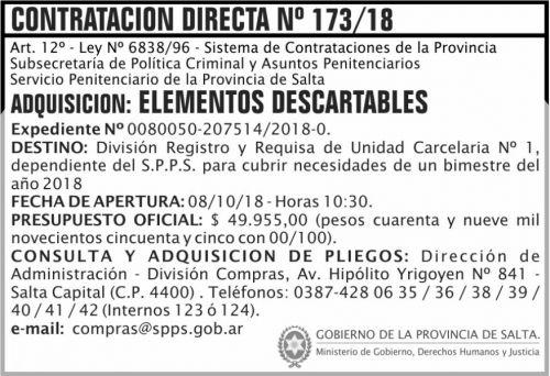 Licitación: Contratacion Directa 173 SPPS MDHJ