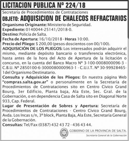 Licitación: Licitacion Publica 224 SGG MS
