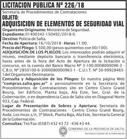 Licitación: Licitacion Publica 226 SGG MS