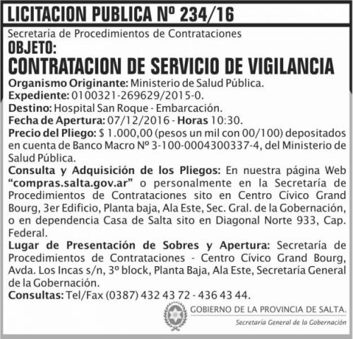 Licitación: Licitación Pública Nº 234/16