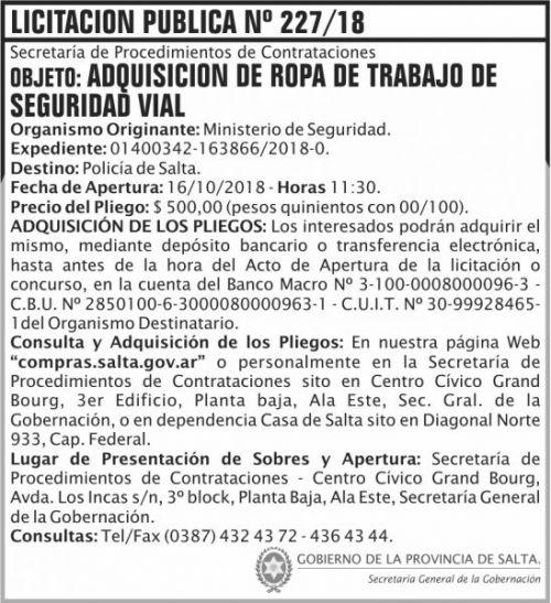 Licitación: Licitacion Publica 227 SGG MS