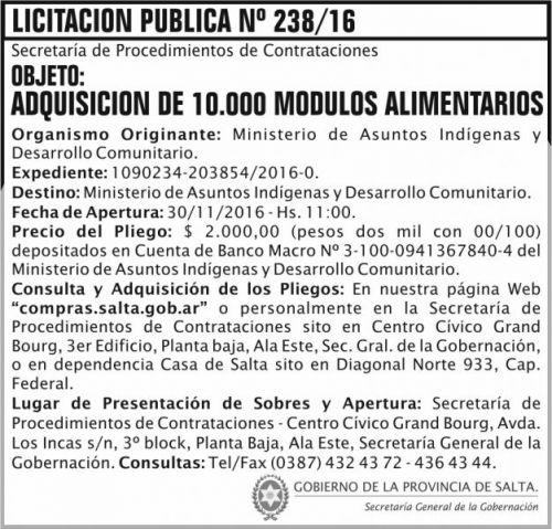 Licitación: Licitación Pública Nº 238/16