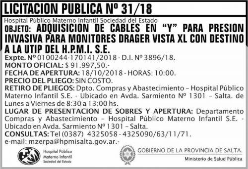 Licitación: Licitacion Publica 31 MSP HPMI