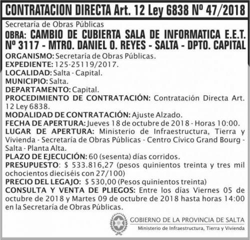Concurso de Precios: Contratacion Directa 47 MITV