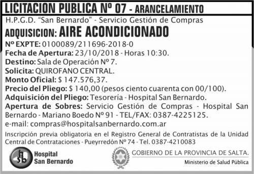 Licitación: Licitacion Publica 07 MSP SB