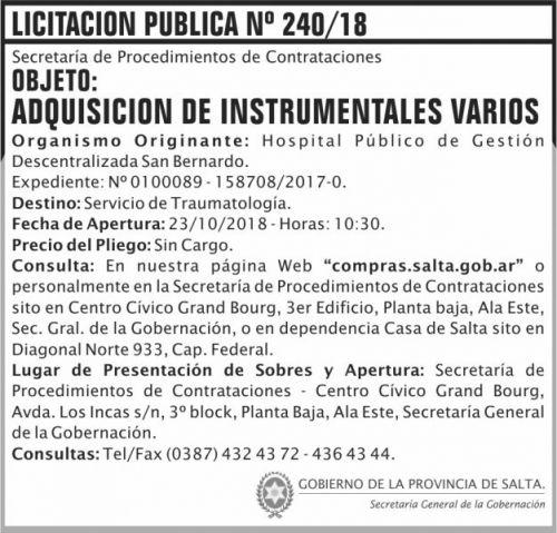 Licitación: Licitacion Publica 240 SGG SB 2x7