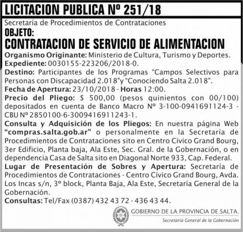 Licitación: Licitacion Publica 251 SGG MCTD 2x7