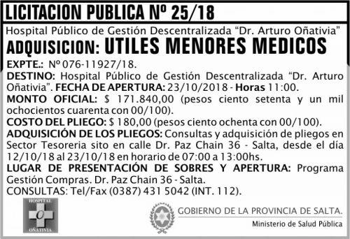 Licitación: Licitación Pública 25 MSP Oñativia 2x5