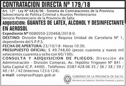 Licitación: Contratacion Directa 179 SPPS MDHJ 2x5