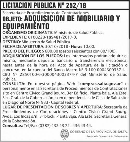 Licitación: Licitacion Publica 252 SGG MSP 2x8 ND