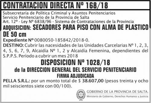 Licitación: Contratacion Directa Adjudicada 168 SPPS MDHJ