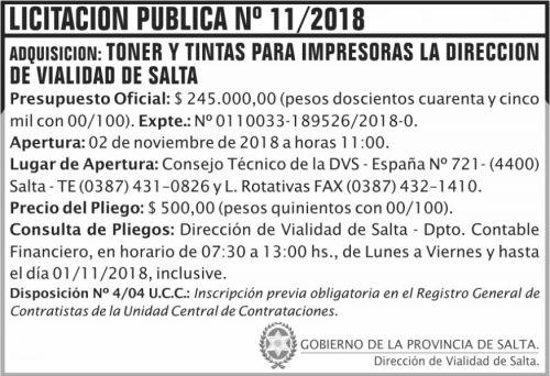 Licitación: Licitacion Publica 11 DVS 2x5 ND