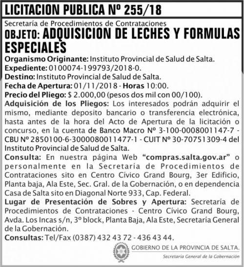 Licitación: Licitacion Publica 255 SGG IPS 2x8 ND