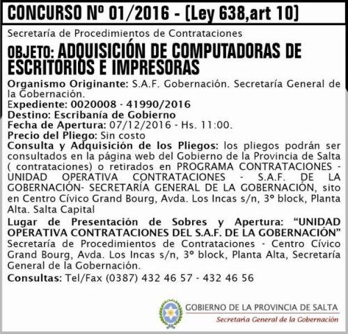 Concurso de Precios: Concurso Nº 01/2016 - (Ley 638, art. 10)