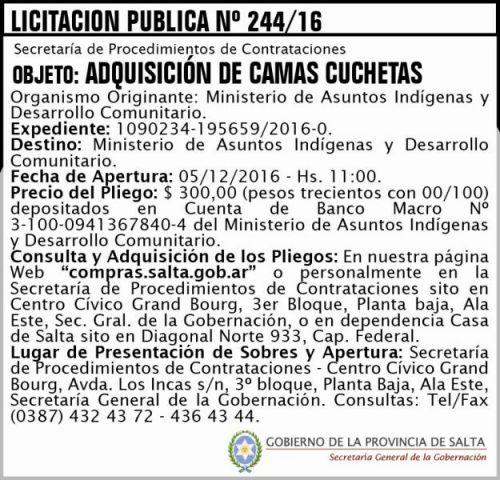 Licitación: Licitación Pública Nº 244/16
