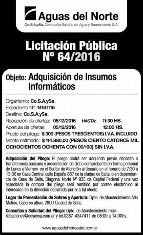 Licitación: Licitación Pública Nº 64/2016