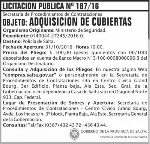 Licitación: Adquisición de cubiertas