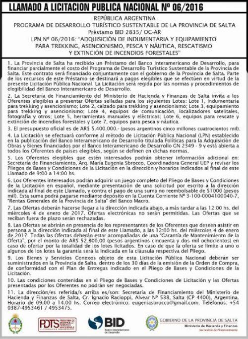 Licitación: Licitación Pública Nº 06/2016