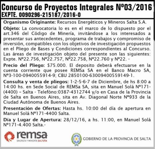 Edictos / Comunicados: Concurso de Proyectos Integrales Nº 03/2016