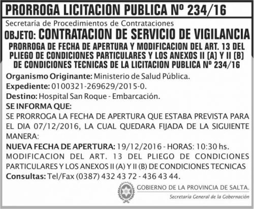 Licitación: Prorroga Licitación Pública Nº 234/16