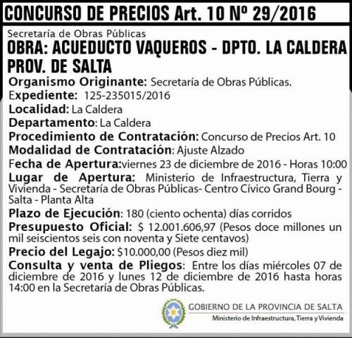 Concurso de Precios: Concurso de Precios Art. 10 Nº 29/2016