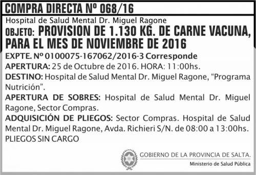 Compra Directa: Provisión de 1.130kg de carne vacuna, para el mes de noviembre 2016