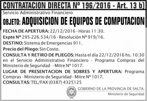Compra Directa: Contratación Directa Nº 196/2016 - Art. 13 b
