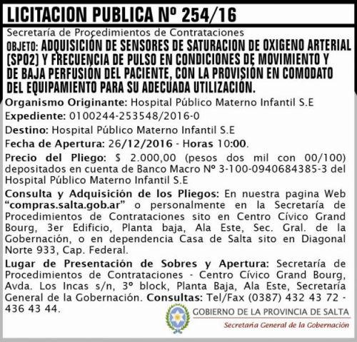 Licitación: Licitación Pública Nº 254/16