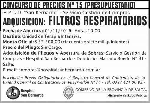 Concurso de Precios: Filtros respiratorios