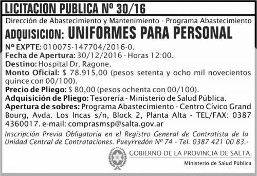 Licitación: Licitación Pública Nº 30/16