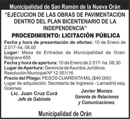 Licitación: Licitación Pública - San Ramón de la Nueva Orán